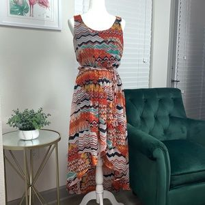 Colorful Hi-Lo dress with sash.